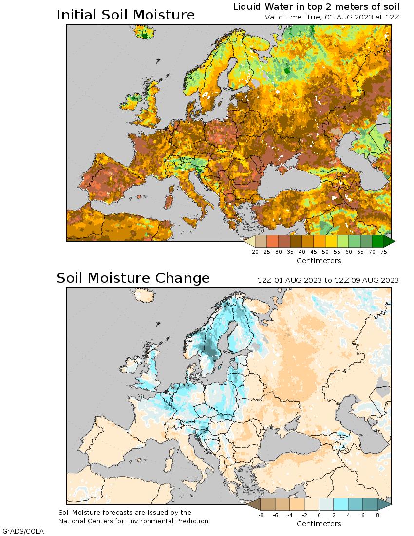 humidité au sol Europe